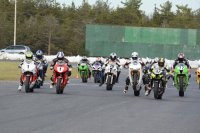 RACE Pro Superbike Feature start at final 2014 Shannonville Regional round, with Jodi Christie (white Honda # 1), Kris Garvie (red Honda # 1), Doc Walker (BMW # 78), Kenny Riedmann (Aprilia # 42), and Franklin Dominguez (Kawasaki # 711). [Photo: Colin Fraser]