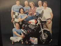 "1982 Photo shoot for the RACE Castrol Eastern Canada Challenge Pro Superbike crew of Art ""the dart"" Robbins features the entire Leitner and Bush Engineering team including Hall of Fame members Mike Crompton (seated, inducted 2017) and George Morin (far right, inducted 2015). [Photo: Hall of Famer, Bill Petro]"