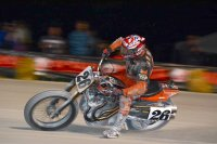 Flat Track Canada National Feature class points leader Steve Beattie struts his stuff aboard his Harley in Barrie, ON, stretching his series points advantage in the chase for the 2017 number one plate. [Photo: Colin Fraser]