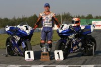 2005 post-SMP National finale and Pascal Picotte shows off his successful team with National titles for the Sport Bike Yamaha YZF-R6 and Superbike YZF-R1. [Photo: Rob O'Brien]