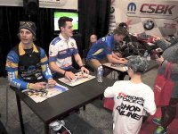 Jordan Szoke, Ben Young, Doug Lawrence and (hidden) Kenny Riedmann at the Mopar CSBK Booth during this weekend's Toronto Motorcycle Show at the Enercare Centre, ending Sunday. [Photo: Colin Fraser]