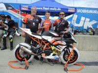 KTM Cup title contender Dumas and his Patrice Goyette-lead KTM RC Cup Team. Unfortunately, a crash in Saturday's race mathematically eliminated the French Canadian rider from the title chase. [Photo: Colin Fraser]