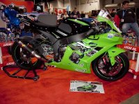 The Lucas Oil display in Hall Five of the SuperShow featured the brand new Snow City Kawasaki ZX-10R of 2015 Magneti Marelli Amateur Superbike Champion Derrick Whyte. [Photo: Colin Fraser]