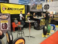 Official Mopar CSBK National spec tire supplier Dunlop are represented by two booths at the Salon Moto de Montreal, including the set-up of official Dunlop race tire distributor Pro6 Cycle. [Photo: Colin Fraser]