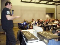 John Sharrard of Accelerated Technology talks K-Tech suspension during the Amateur Lightweight Sport Bike seminar at the Motorcycle Show – Toronto at the CNE's Enercare Centre. [Photo: Colin Fraser]