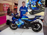 "Freshly-signed Suzuki Canada Rookie Pro Superbike pilot Doug ""Fresh"" Lawrence with the new GSX-R1000 at the Toronto Motorcycle Show at the Enercare Centre on the Exhibition grounds. [Photo: Colin Fraser]"